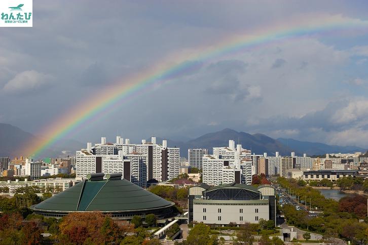 おりづるタワーから見る虹